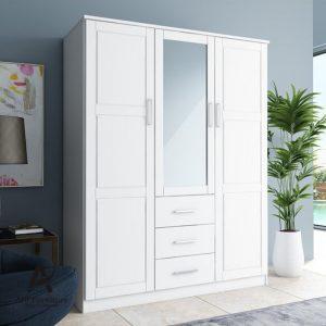 Almari Pakaian 3 Pintu Modern Duco Putih