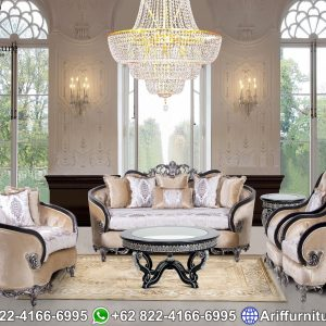 Kursi Sofa Tamu Mewah Black Silver