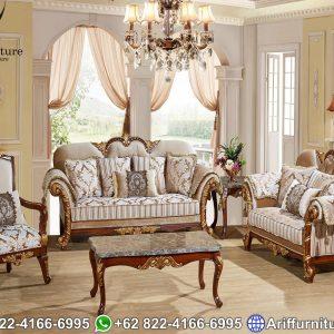 Kursi Sofa Tamu Mewah Classic Ukiran Gold