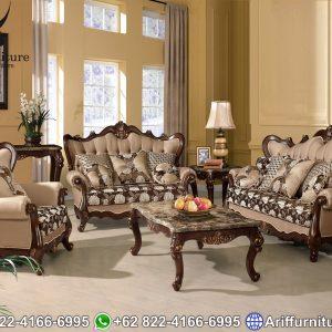 Kursi Sofa Tamu Mewah Klasik Jati Natural