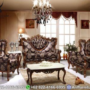 Set Sofa Tamu Mewah Klasik Ukiran Jati