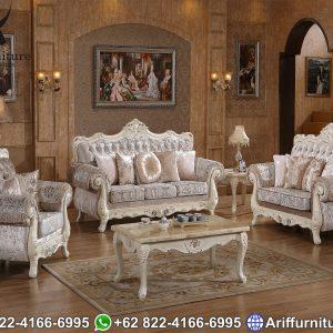 Set Sofa Tamu Mewah Pearl White Duco