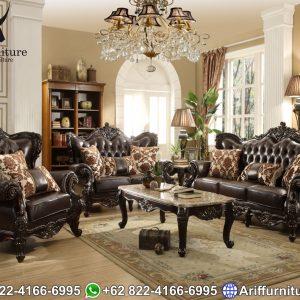 Sofa Tamu Klasik Natural Jati