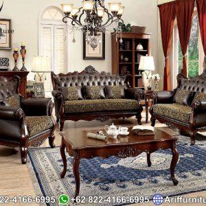 Sofa Tamu Mewah Jati Natural
