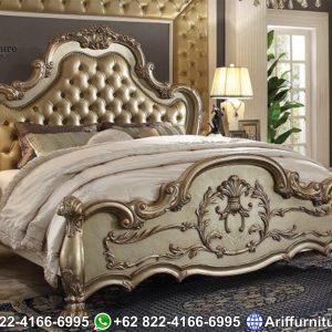 Tempat tidur mewah classic ukiran royal