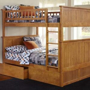 ranjang tidur susun laci kayu jati
