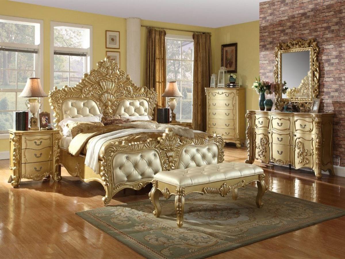 tempat tidur mewah duco warna emas