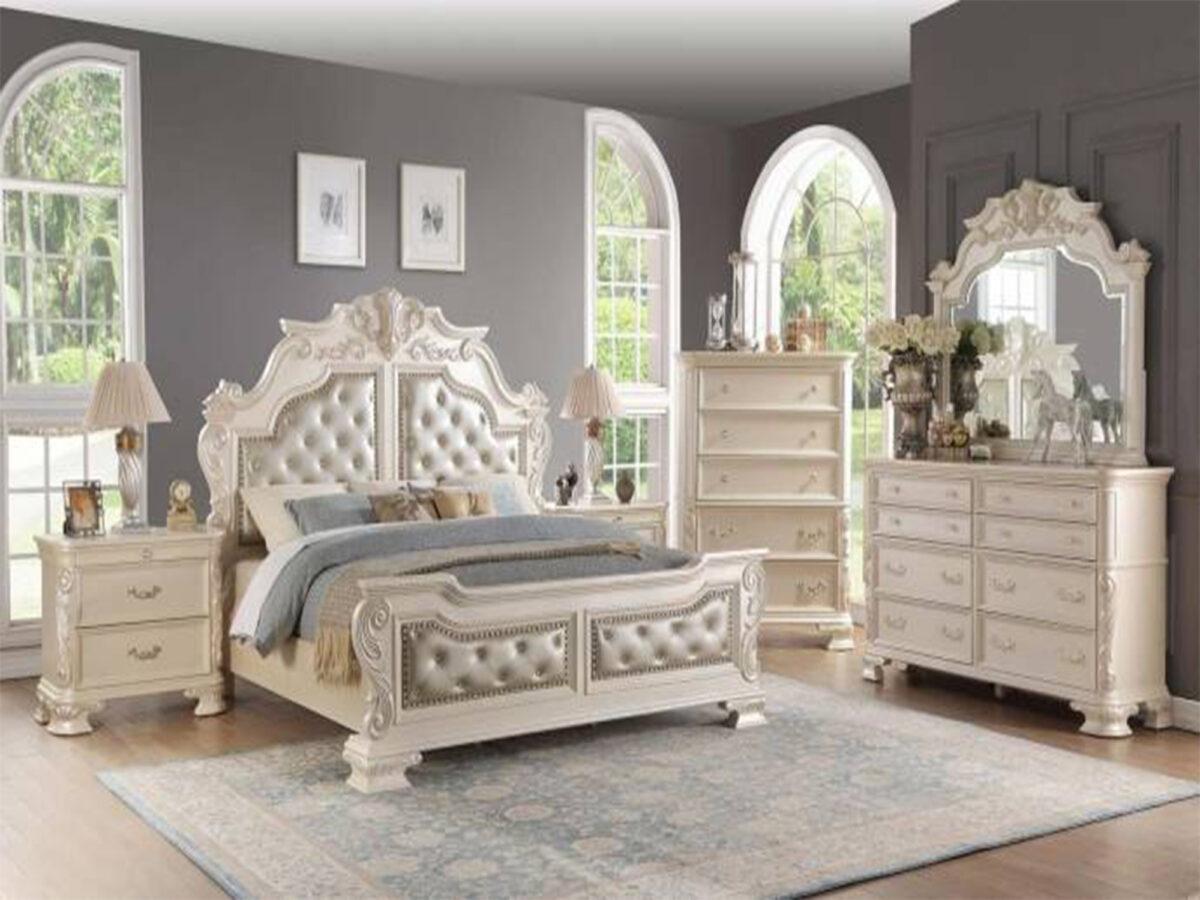 tempat tidur mewah minimalis warna putih