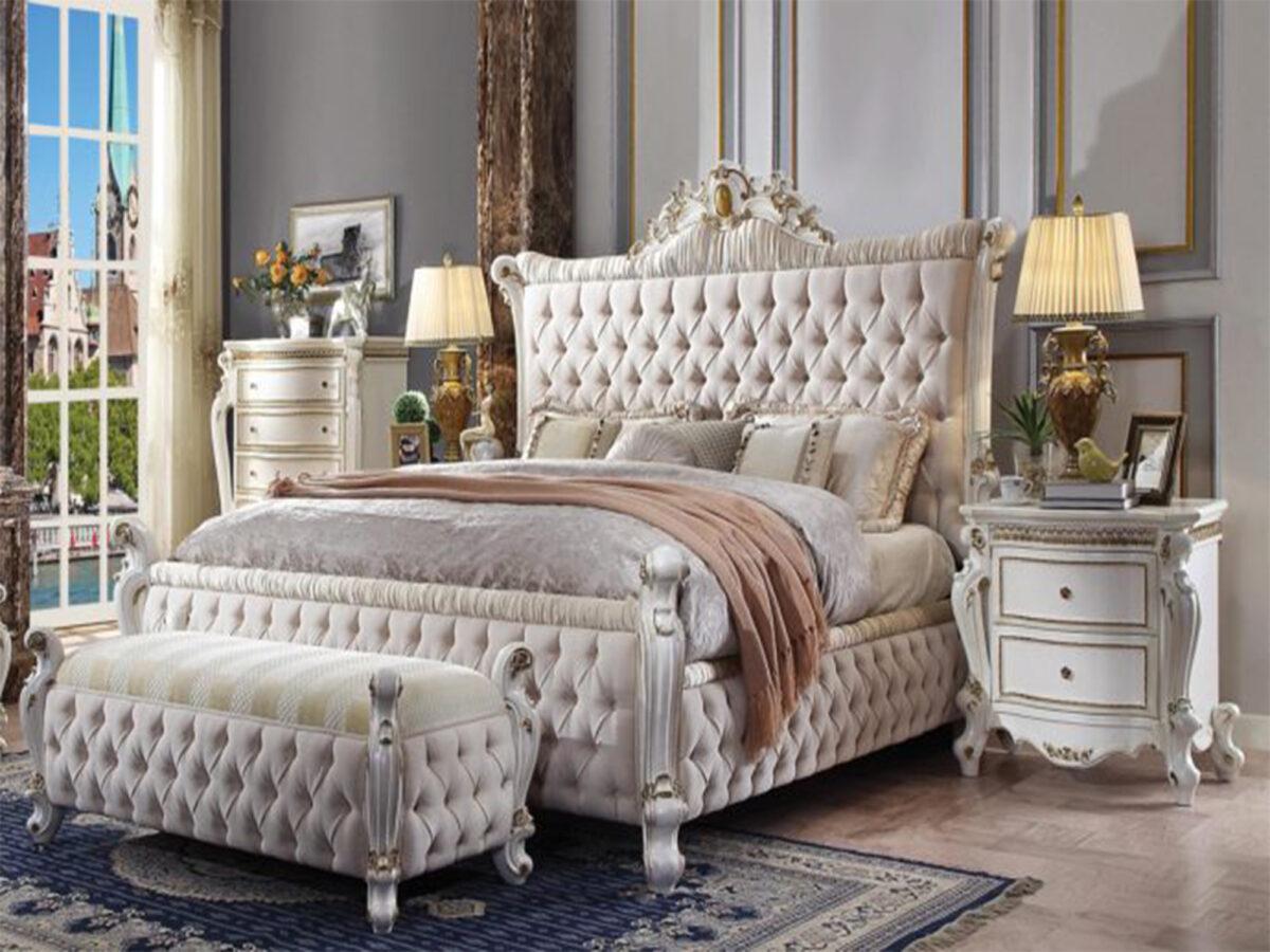tempat tidur mewah putih ukir jepara