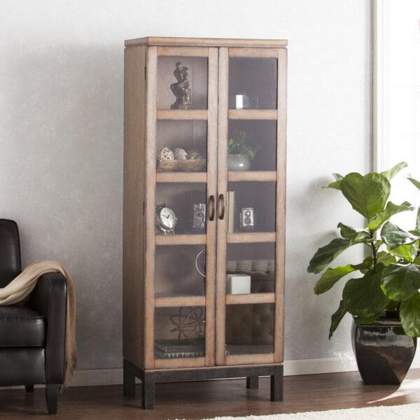 lemari pajangan minimalis kayu terbaru 1