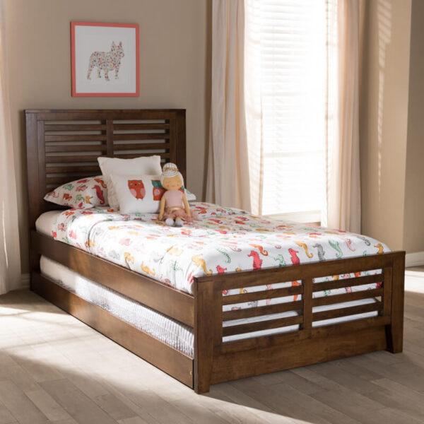 ranjang tidur anak sorong minimalis kayu jati